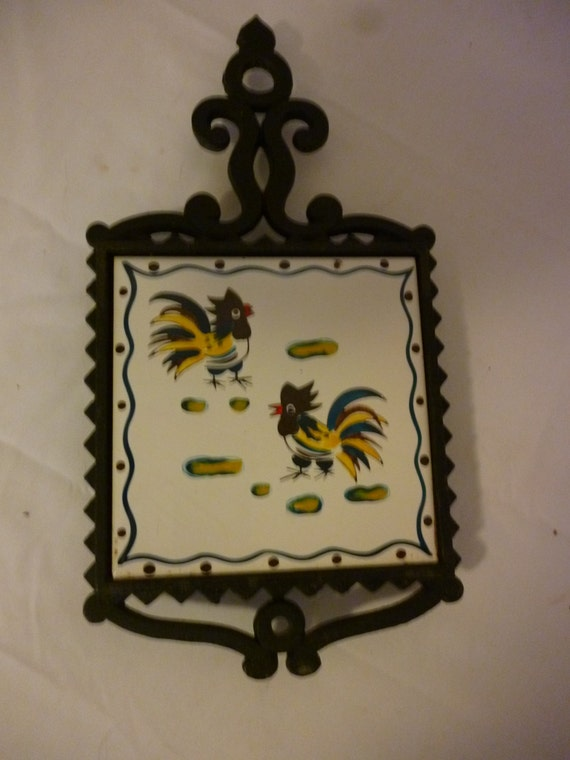 Vintage Ceramic Tile and Cast Iron Trivet With Roosters