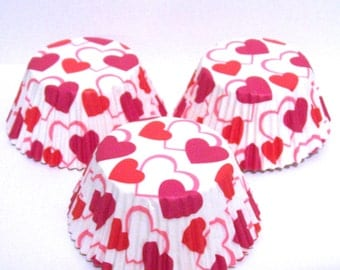 50 Red Hearts on White Cupcake Liners