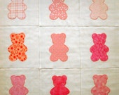 Appliqued Quilt Blocks, Pink Teddy Bears, Teddy Bear Blocks, Patchwork Teddy Bears