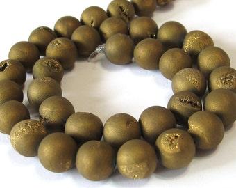 8mm Druzy type round beads gold matte titanium coated