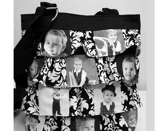 Photo Picture Ruffle Bag Purse Personalized Gift 10 photos choice of fabric