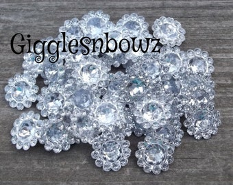50pc Rhinestone Embellishments- 11mm acrylic gem shape stones- DIY supplies- Plastic Flower Shaped Gems- Acrylic Rhinestone