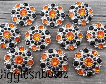 Sale!! Rhinestone Buttons- set of 10 HaLLOWeeN EDiTioN ORaNGe and BLaCK Acrylic Rhinestone Buttons 28mm Flower Centers, Headband Supplies