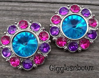 LaRGe RHiNeSToNe BuTToNS 30mm -Set of 2 TuRQUoiSE with SHoCKiNG PiNK/PuRPLE Plastic Acrylic Rhinestone Buttons