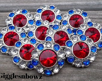 4th of JuLY LaRGe RHiNeSToNe BuTToNS 30mm -Set of 10 RED with CLeaR/RoYaL BLUE Plastic Acrylic Rhinestone Buttons