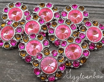 PuRRFeCTLy FaBuLouS- Set of 10 BRiGHT PiNK CeNTER with BRoWN and SHoCKiNG PiNK Rhinestone Buttons 25mm