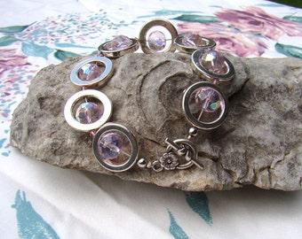 Circle Rhinestone Bracelet Vintage Pink Glass Beads Toggle Clasp Beautiful Quality