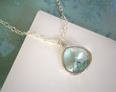 Mint Green Necklace, Silver Necklace, Pendant Necklace, Jewelry Under 30, Spring Wedding
