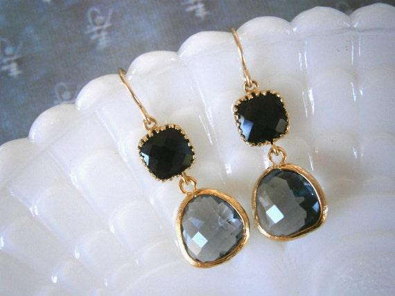 Black Earrings, Grey Earrings, Bridal Jewelry,Bridesmaid Earrings, Best Friend Birthday, Mother's Day Jewelry