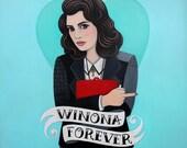 "WINONA FOREVER - Winona Ryder Heathers Portrait by YELLEY - 13""x16"" Digital Print"