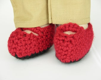Red Doll Shoes - Mary Jane Shoes for Dolls - Handmade Doll Shoes - Crocheted Shoes for Dolls - Red Mary Jane Shoes