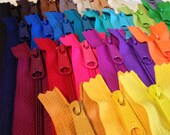 14 inch handbag zippers with long pull, 26 zippers in 26 colors, 4.5 mm coil, color sampler