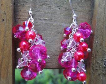Pink Crystal Earrings/ Pearl and Pink Crystal Earrings/ Bridesmaid Earrings/ Bachelorette