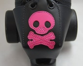 Leather Toe Guards with Pink Skulls and Crossbones