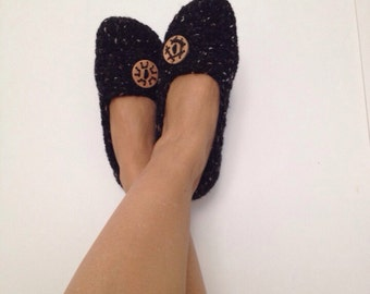 Black  brown Tweed with Natural Button Crochet Womens Slippers, Ballet Flats, House Shoes