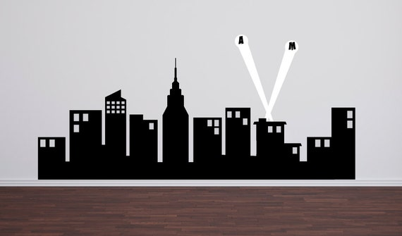 "Super Hero City Skyline, Childrens Wall Decals, Boy Bedroom Decor, Superhero Wall Decals, 60"" wide"