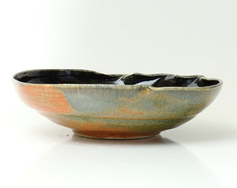 Bowl, Earthy Ceramic Black Twisted Edge Bowl