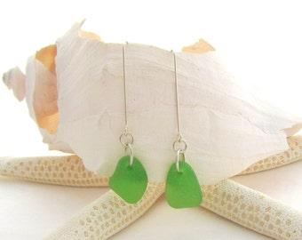 Long Leg Beach Glass Earrings - Kelly Green