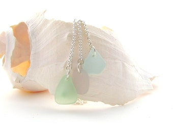 Sterling Silver Chain w/Beach Glass Drops - Seafoam/Lavender/Baby Blue