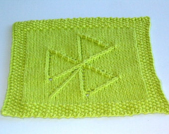 Hand Knit Lime Green Modern Shamrock Dish Cloth or Wash Cloth
