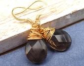 Smokey Quartz Earrings,  Gold Wire Wrapped Earrings,  Brown Gemstone Earrings, stone earrings