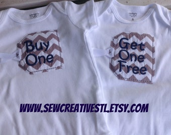 THE ORIGINAL Buy One - Get One Free Twin Onesie Set in Gray Chevron Tags