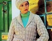 INSTANT DOWNLOAD PDF  Vintage Knitting Pattern   Leaf Pattern Belted Cardigan Jacket and Beanie Hat
