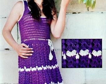 INSTANT DOWNLOAD PDF Vintage Crochet Pattern  Sleeveless Mini Dress Tunic 1970s Retro