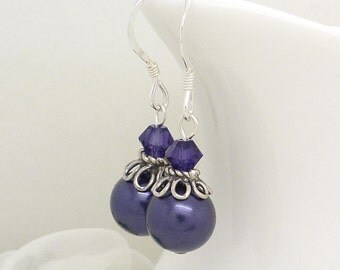 Purple bridesmaid earrings, Dark violet purple pearl earrings, Sterling silver, Bridesmaid purple pearl drop earrings, Purple pearl jewelry