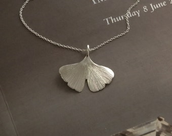 ginkgo biloba leaf in sterling silver