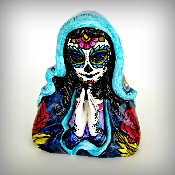 Day Of The Dead Hand Tattoo: Madonna Planter Day Of The Dead Hand Painted Ceramic By
