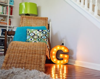 """SALE - Light Up Letter G - RUSTY - 12"""" Vintage Marquee Lights-The Original!"""
