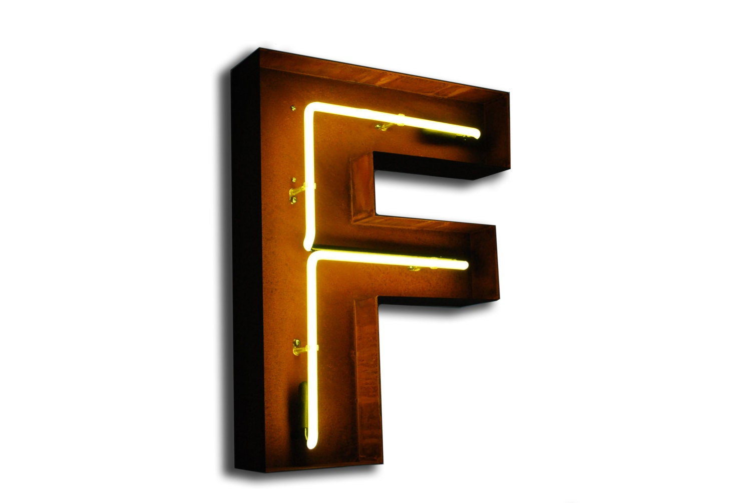Sale vintage marquee lights neon letter f yellow for Light letters for sale