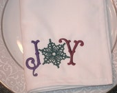 CLEARANCE Christmas Joy Snowflake Dinner Napkins embroidered Set of 2