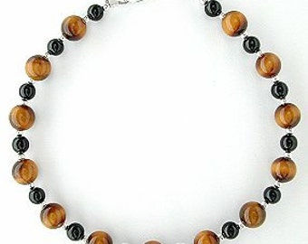 Tiger Eye Bracelet with Black Onyx - Tigerseye Jewelry - Small to Plus Size Bracelet - 7, 7.5 inch, 8, 8.5 inch, 9, 9.5 inch, or 10 inches