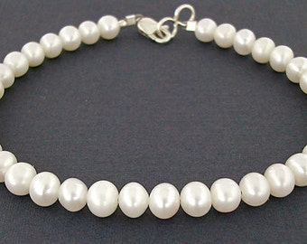 Pearl Bracelet with Sterling Silver Clasp - Small to Plus Size Pearl Bracelet - Pearl Jewelry