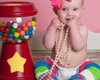Blue Pink Green Stripes Baby Leg Warmers