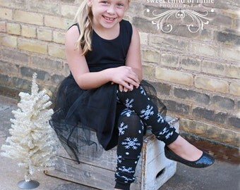 Black and White Snowflake Girls Leg Warmers