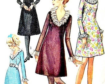 Vintage 1960s Simplicity 7791 Sewing Pattern OnePiece Dress Pattern Bust 34  Ruffles Mod 60s