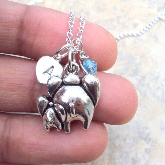 New Mom Necklace Mommy And Baby Elephant Sterling Heart Custom