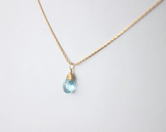 Tiny Wrapped Blue Topaz Cordette Necklace