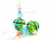 Colorful Glass Earrings, Green Blue Orange Earrings, Lampwork Earrings, Neon Beadwork Earrings, Dangle Earrings Glass Jewlery - Pulled Taffy