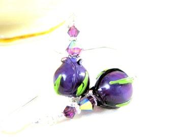 Purple Rose Bud Earrings, Flower Earrings, Lampwork Earrings, Glass Earrings, Rose Jewelry, Nature Jewelry, Amethyst Earrings - Tea Roses