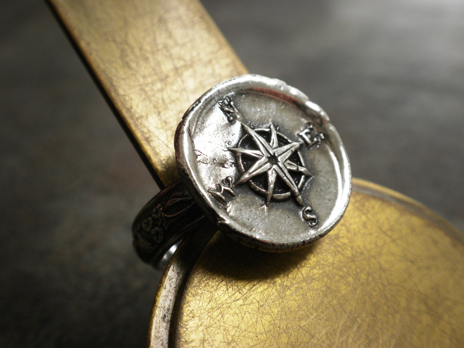 silver compass ring wax seal jewelry