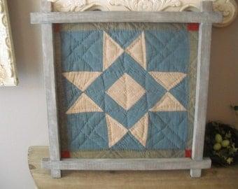 Vintage framed PRIMITIVE QUILT Block ... Lone Star quilt block in primitive Frame