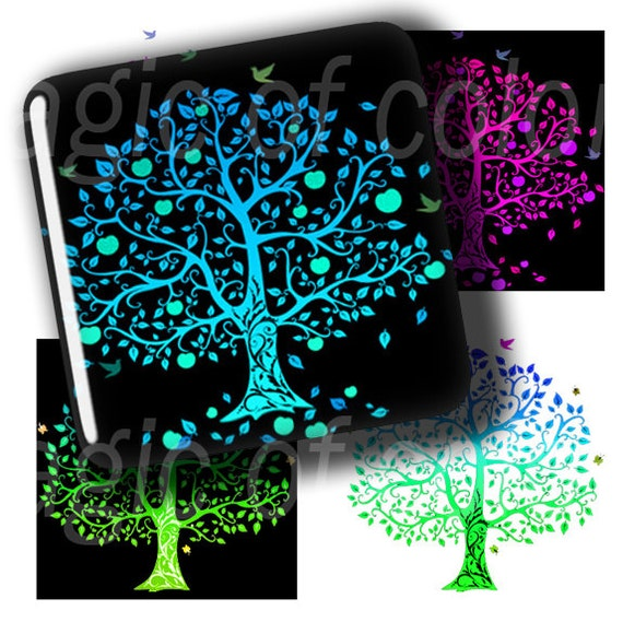 Colourful Trees  - 63  1x1 Inch  Square JPG images - Digital  Collage Sheet