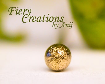 """Nose Screw or tragus stud  """"Small Ball"""" 1.9mm -  Pave textured 18k SOLID Yellow Gold Ball"""