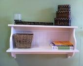 "Wood Wall Shelf Kitchen Cupboard Country Wall Shelf Solid Pine Display Rack 30"" Cookbook Shelf"