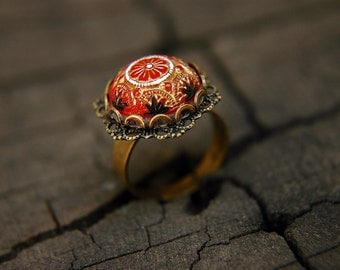 Ornate Floral Ring Vintage Red Czech Glass Cabochon Adjustable  - The Heiress.