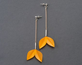Minimalist Leaf Feather Earrings in Golden Sunshine Yellow / Pale Orange Long Chain Dangle Style on Silver Studs